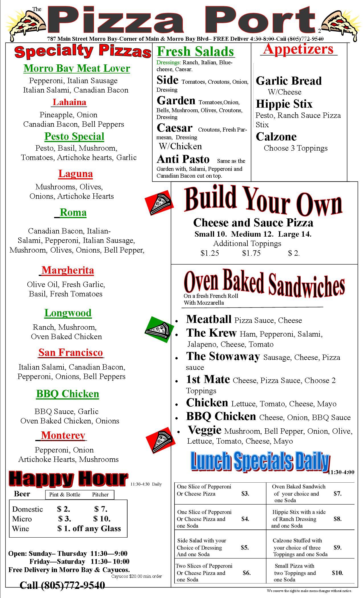 """pizza port morro bay menu"